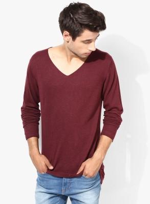 Jack & Jones Solid V-neck Men's Red Sweater