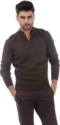 Basics Solid Turtle Neck Casual Men's Brown Sweater