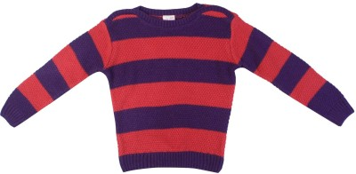 FS Mini Klub Striped Round Neck Casual Girl's Red Sweater