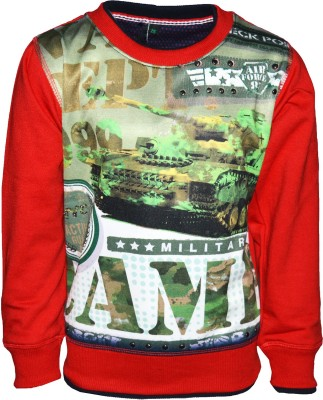 Riverstone Printed Round Neck Casual Girl,s Red Sweater