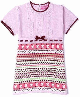 London Fog Striped Round Neck Casual Baby Girl's Pink Sweater