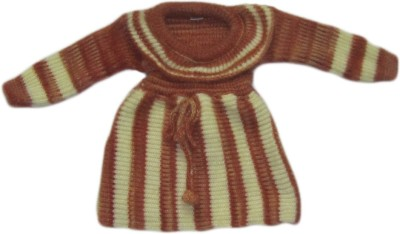 Bebzcozzy Striped Round Neck Girl's Brown Sweater