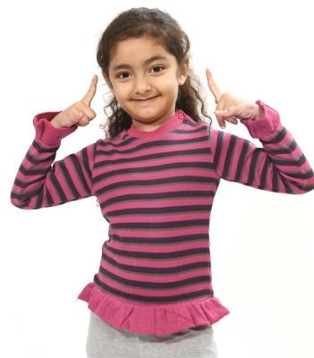 Bio Kid Striped Round Neck Casual Girl's Purple Sweater