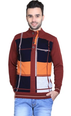 BRAVEZI Self Design Turtle Neck Casual Men,s Brown, Blue, Orange Sweater