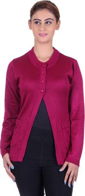 eWools Solid Round Neck Casual Women's Pink Sweater