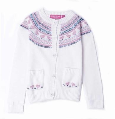 London Fog Argyle Round Neck Casual Baby Girl's White Sweater