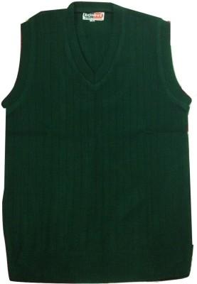 Rajindras Solid V-neck Casual Men's Dark Green Sweater