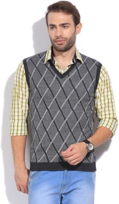 Arrow New York Checkered V-neck Casual Men's Grey Sweater
