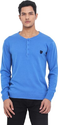 Northern Lights Solid Round Neck Casual Men's Blue Sweater