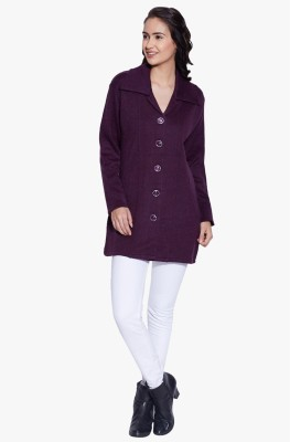 Fugue Solid V-neck Casual Women's Purple Sweater