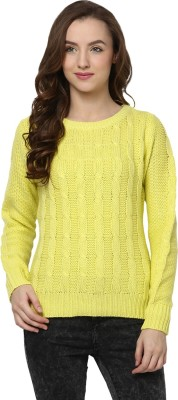 Yepme Solid Round Neck Casual Women's Yellow Sweater