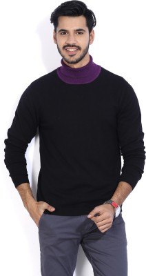 Arrow New York Solid Turtle Neck Casual Men Black Sweater
