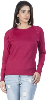 Zovi Solid Round Neck Casual Women's Sweater