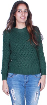 GnC Self Design Round Neck Casual Women's Green Sweater