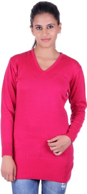 eCools Solid V-neck Party Women's Pink Sweater
