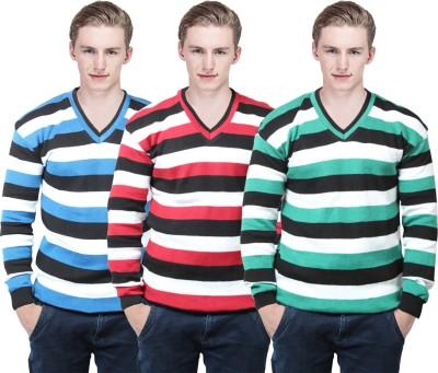BrandTrendz Striped V-neck Casual Men's Multicolor Sweater