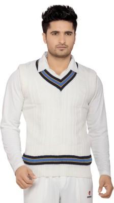 Omtex Solid V-neck Men's White, Blue Sweater