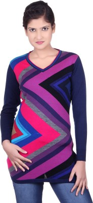 SPINK Solid V-neck Casual Women's Multicolor Sweater