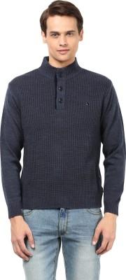 Okane Solid Turtle Neck Men's Dark Blue Sweater