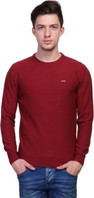 TSAVO Self Design Round Neck Casual Men's Red Sweater