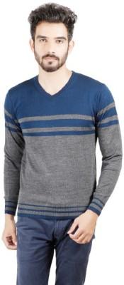 Numero Uno Striped V-neck Casual Men's Grey, Blue Sweater