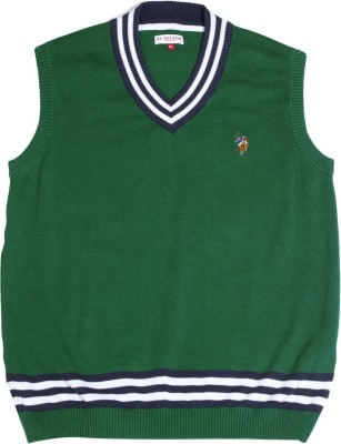 U S Polo Kids Solid V-neck Casual Boys Green Sweater