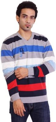 Pierre Carlo Solid, Striped V-neck Casual Men's Grey Sweater