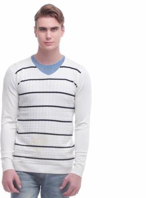 Jogur Self Design V-neck Men's White Sweater