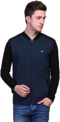 TSAVO Embroidered Round Neck Casual Men's Blue Sweater