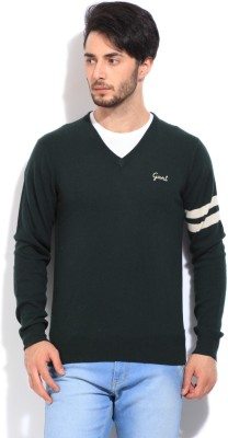 Gant Solid V-neck Casual Men's Green Sweater