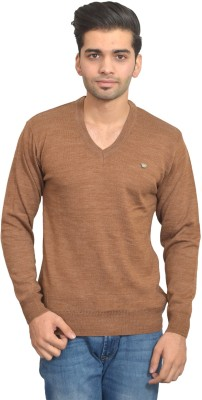 Ossell Solid V-neck Men,s Brown Sweater