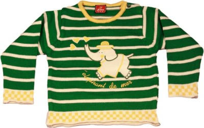 Kidax Striped, Embroidered Round Neck Casual, Festive, Party Baby Boy's Dark Green Sweater