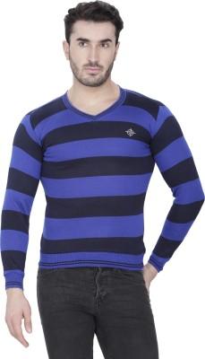 Alay Striped V-neck Casual, Party, Formal, Sports, Festive, Lounge Wear Men's Dark Blue Sweater