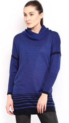 HRX by Hrithik Roshan Solid Turtle Neck Casual Women,s Blue Sweater