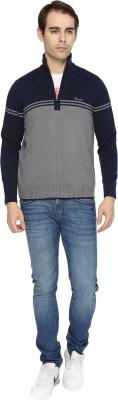 Wrangler Solid Turtle Neck Casual Men's Dark Blue, Grey Sweater