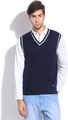 Arrow Sports Self Design V-neck Casual Men's Blue Sweater