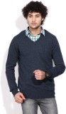 Being Human Solid V-neck Casual Men Blue...