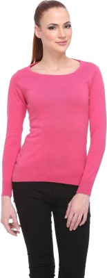 CLUB YORK Solid Round Neck Casual Women,s Pink Sweater