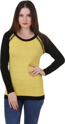Spink Solid Round Neck Casual Women's Yellow, Black Sweater
