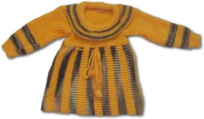 Bebzcozzy Striped Round Neck Girl's Yellow Sweater