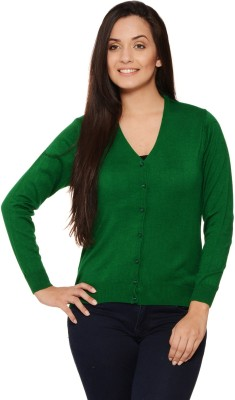 Fugue Solid V-neck Casual Women's Green Sweater