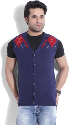 John Players Self Design V-neck Casual Men's Dark Blue, Red Sweater