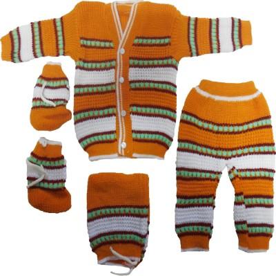 BornBabyKids Self Design Scoop Neck Baby Boy,s, Baby Girl's Multicolor Sweater