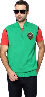 University of Oxford Solid Round Neck Men's Green Sweater