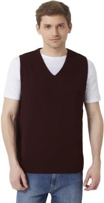 Peter England Self Design V-neck Men's Maroon Sweater
