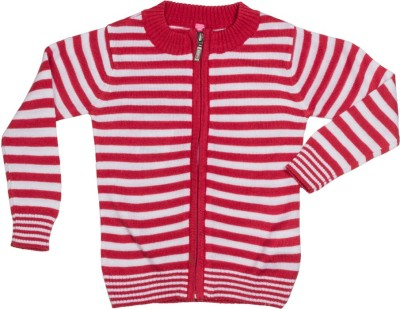 Tickles By Inmark Striped Round Neck Casual Girl's Red Sweater