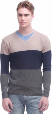 Jogur Self Design V-neck Men's Beige Sweater