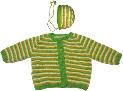 Ubique Self Design Round Neck Casual, Party, Festive Baby Boy,s, Baby Girl's Green Sweater