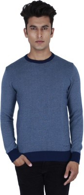 Provogue Solid Round Neck Casual Mens Blue Sweater