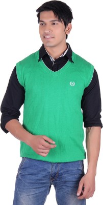 Ogarti Solid V-neck Casual, Party, Festive Men,s Green Sweater